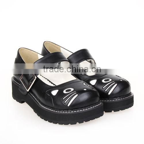 2015 New red cat cartoon bukcle strap 5cm heel black bottom girl lolita leather school shoes