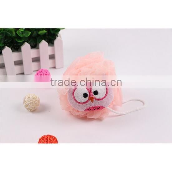 2017 new product novelty cartoon animal owl shaped baby bath sponge shower ball wholesale bath sponge shower puff