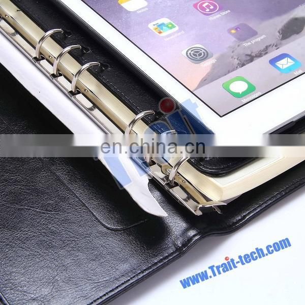 Multi functional New Arrived Notebook Syle PU tablet cover for iPad Air 2 with Card Slots and Paper