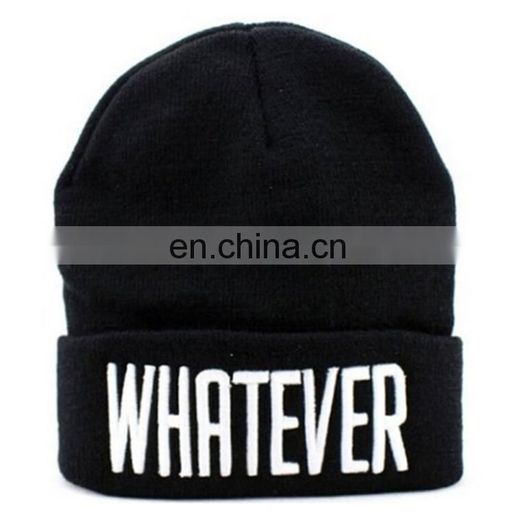 2017 New 3D Embroidered Best selling custom knit beanie hat