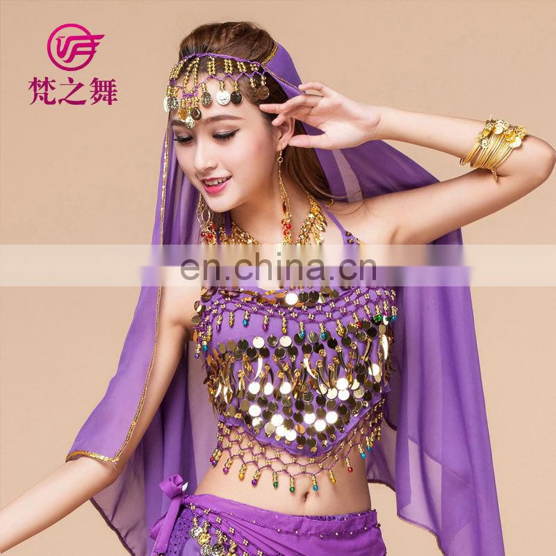 Indian cheap sexy gold coins belly dance costume top S-3001#