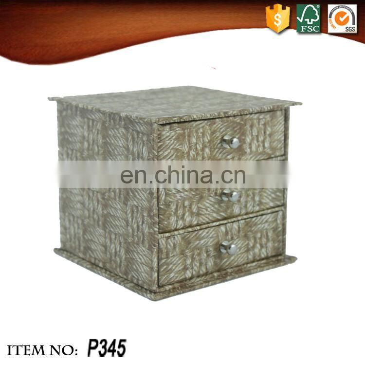 Retro convenient rectangular woven bamboo design and three drawers storage box