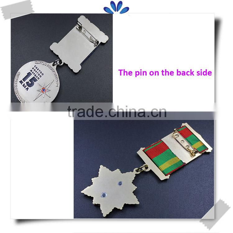 Best popular custom medal pin badge with ribbon,rewarded pin badge