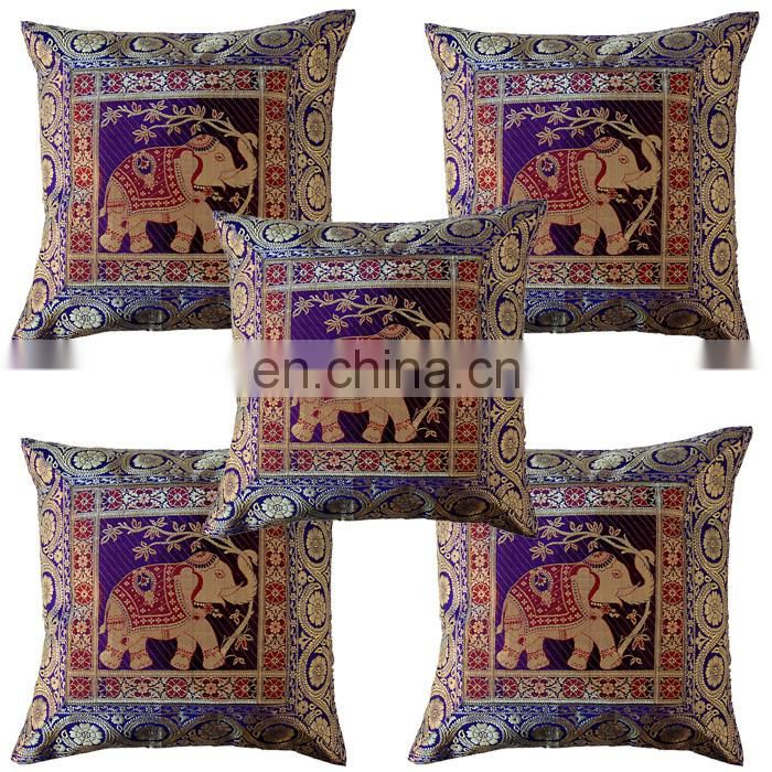 Buy Antique silk sari Jacquard cushion covers wholesale lots online