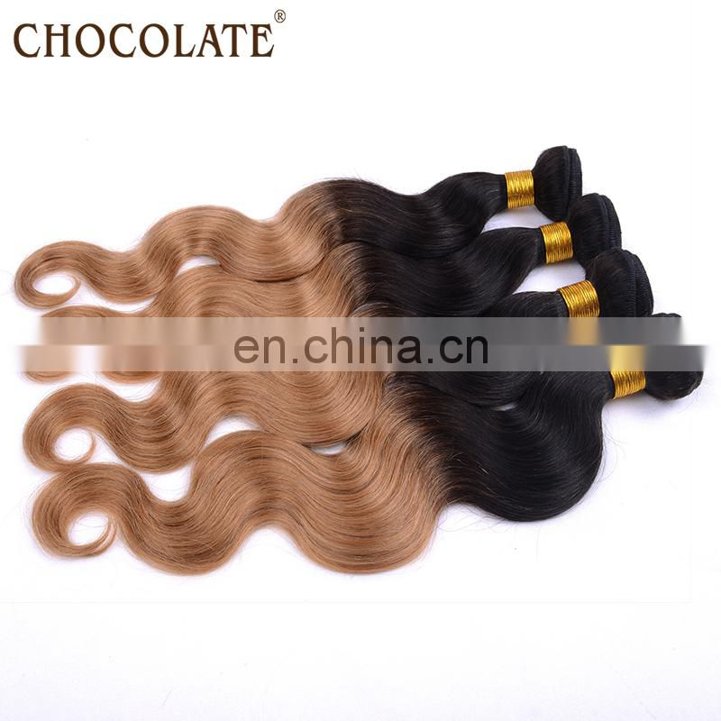 Both OEM and ODM possible ombre chocolate human hair wig/body wavy human hair weft