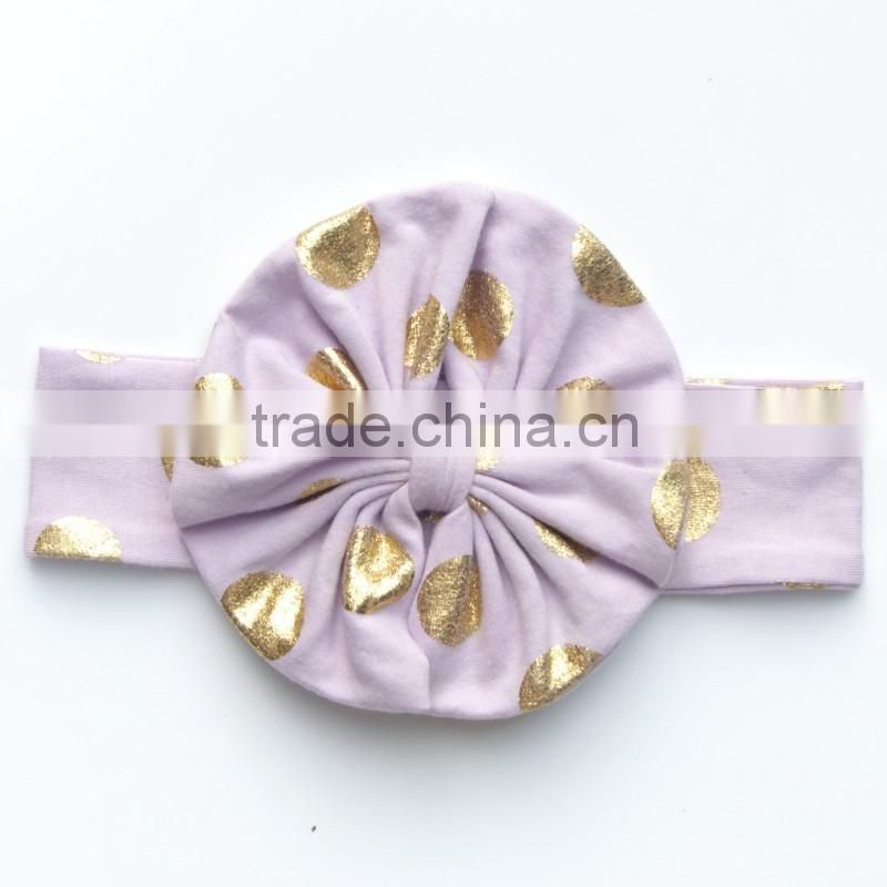 Lovely big bow for newborn baby girls gold polka dot cotton elastic hairband hair accessories 1 dollar gifts