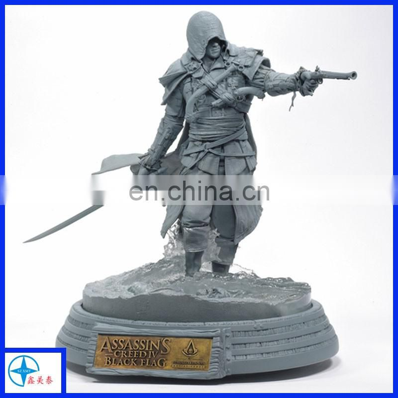 Resin made antique warrior statue in fairy tale armed with shield and ax for hobby collection