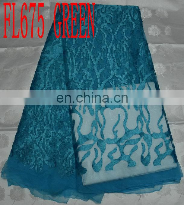 cord lace fabric with rhinestone(FL675) african wedding lace fabric
