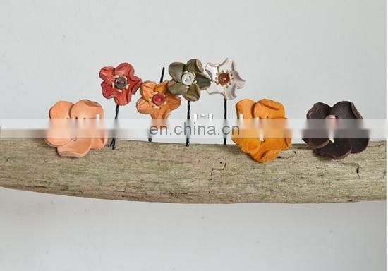 WHOLESALE PURE FLOWER BOBBY PIN LADY LEATHER HAIRPIN