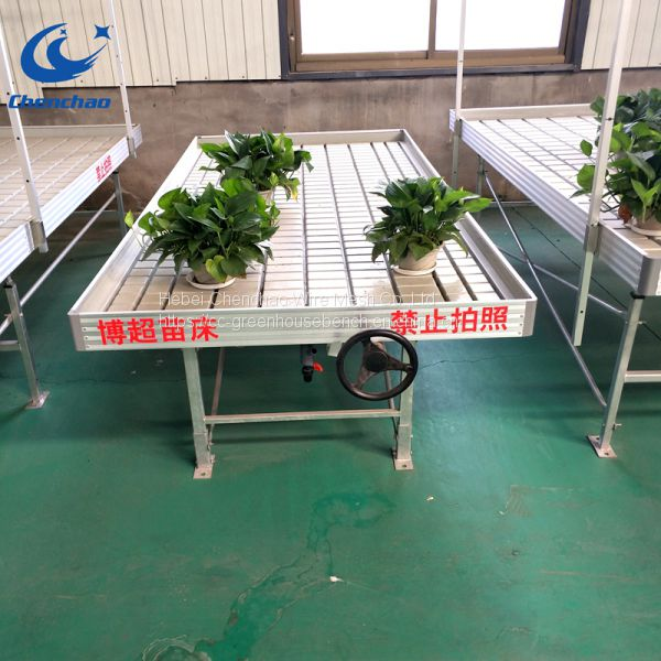 Greenhouse grow plants rolling bench,ebb flow metal rolling table Image