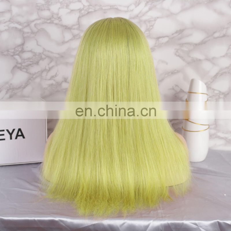 2018 fashion green color with dark roots full lace wig brazilian human hair