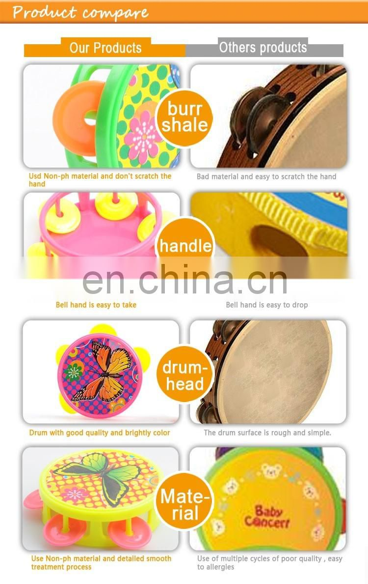 2016 Newly Toy Party Favor Wholesale Noise Maker Plastic Logo Printed Tambourine For Kids