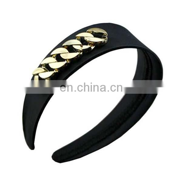 Fashion gold leaf elastic metal headbands