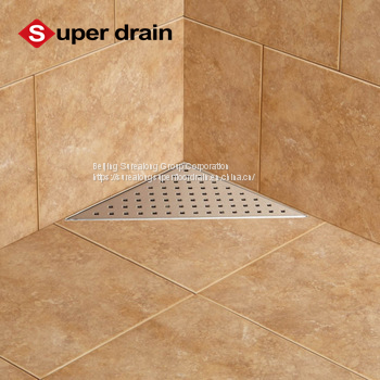 chinese factory 2018 new product lower price bathroom stainless steel triangle corner shower floor drain/shower channel Image