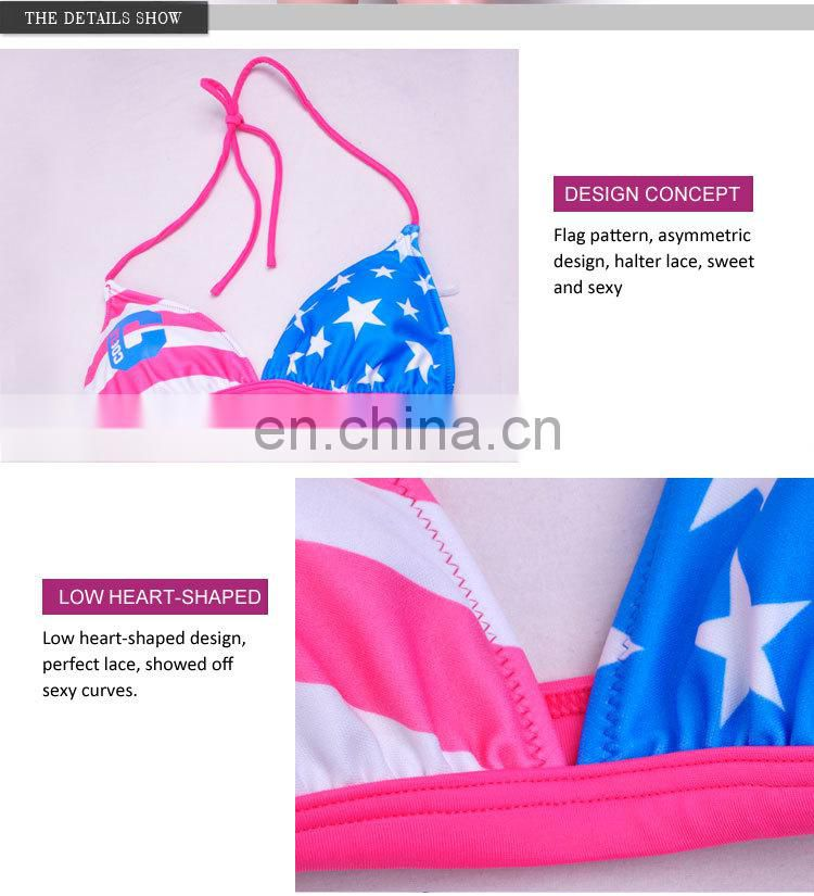 Amazing Beautiful Polyester Friendly Women Sexy Animal Com Sexy Rainbow Stripe Bikini