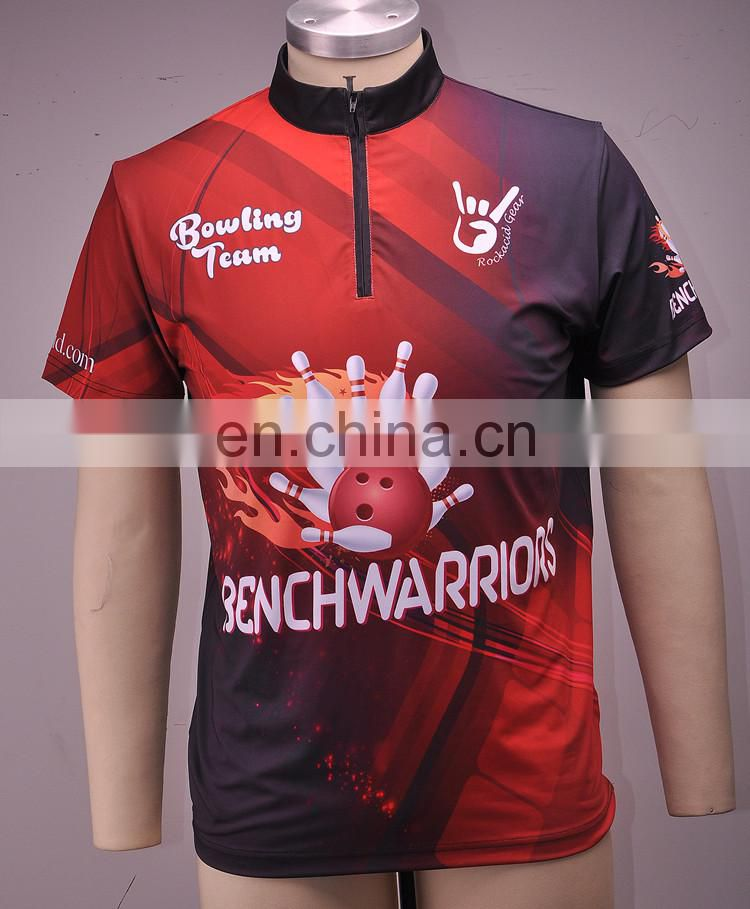 Custom sublimated men bowling polo shirts