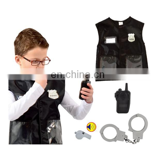 Police cool costume children cosplay clothes with intercom and handcuffs