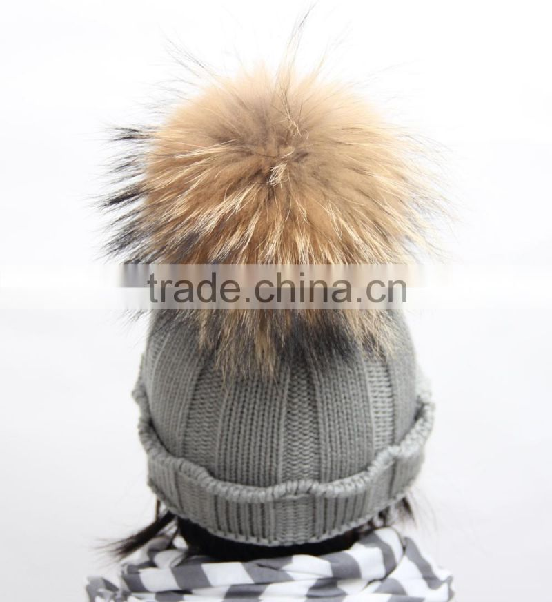New fashion kids skullies beanies knit winter hat cap children with real mink fur pompon balls FH-166