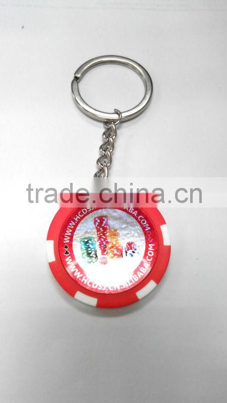 blank plastic casino chips keyring with sticker,poker chip keychain