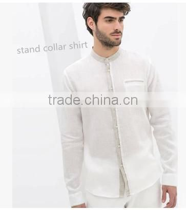New pattern banded collar linen shirt ,stand collar shirt for men Image