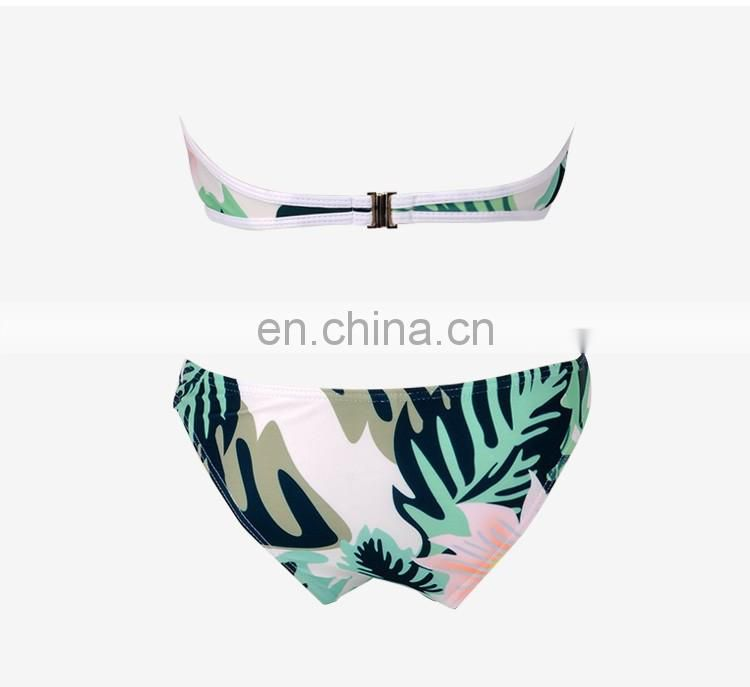 Floral sexy bottom top high compression material bikini