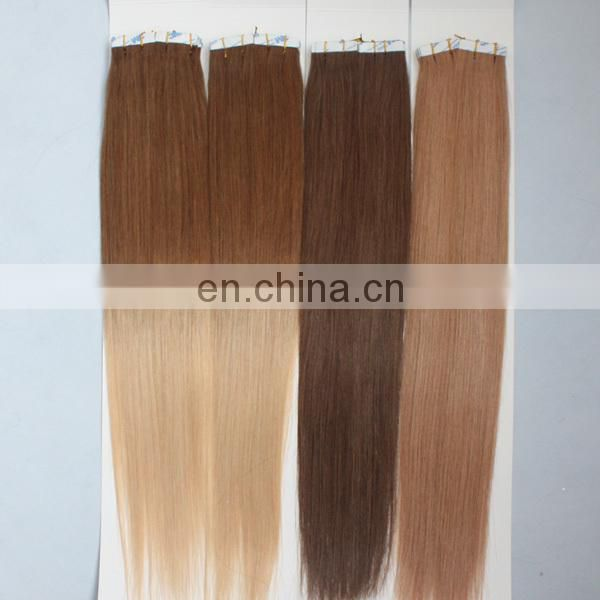 Machine human hair weft most popular tape in hair extensions