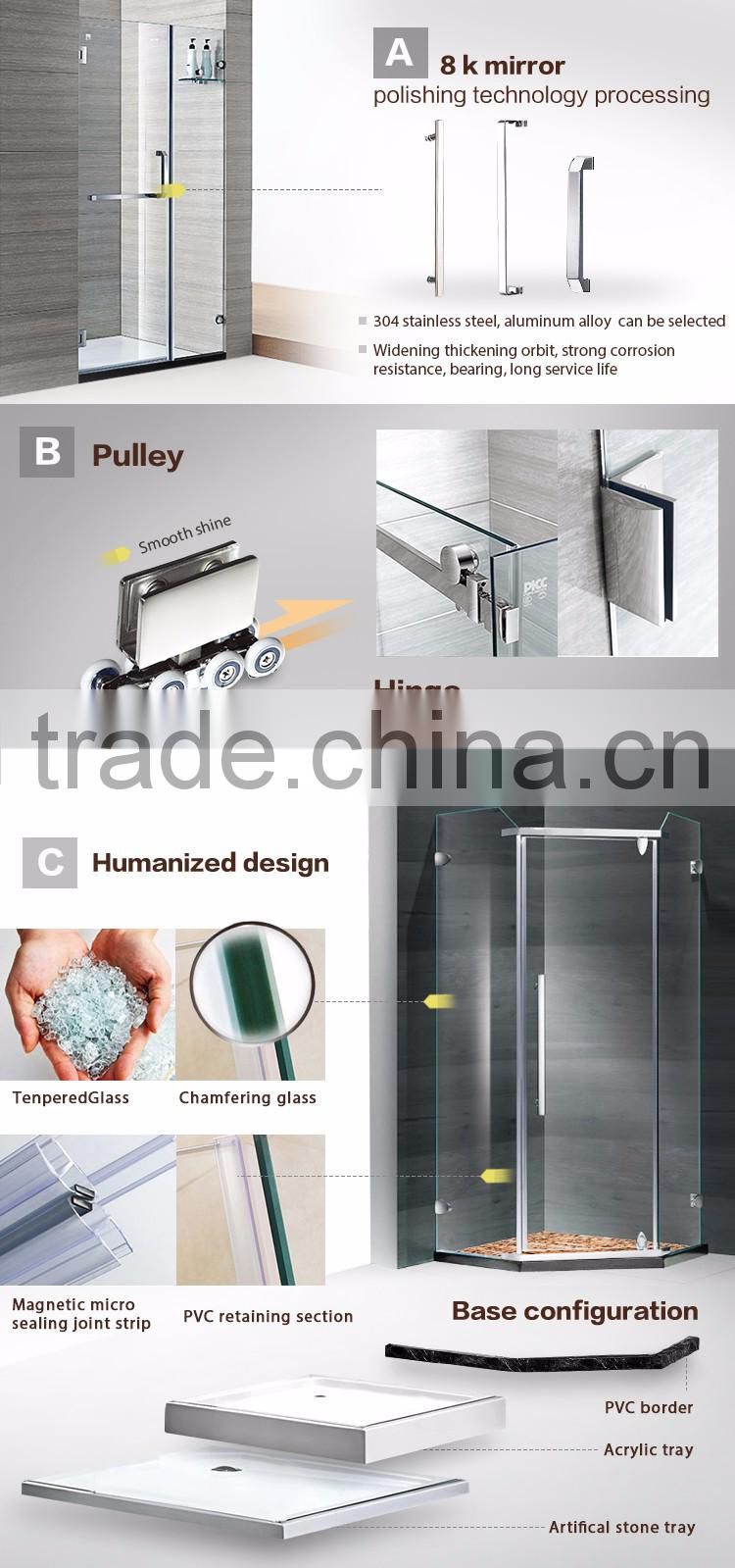 2016 Hot Selling Product Sliding Frame Stainless Steel Glass Shower Cubicle With Folding Door