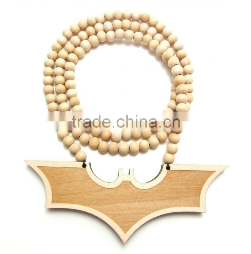 Hip-Hop Good Quality Bat Pendants Wood Rosary Ball Bead Chain Necklaces