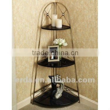 Scrolled Corner Durable Decorative Metal Storage Shelves