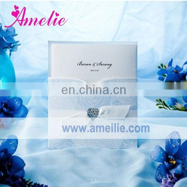 A0427 Blue Color Ribbon Handmade Wedding Invitation Card