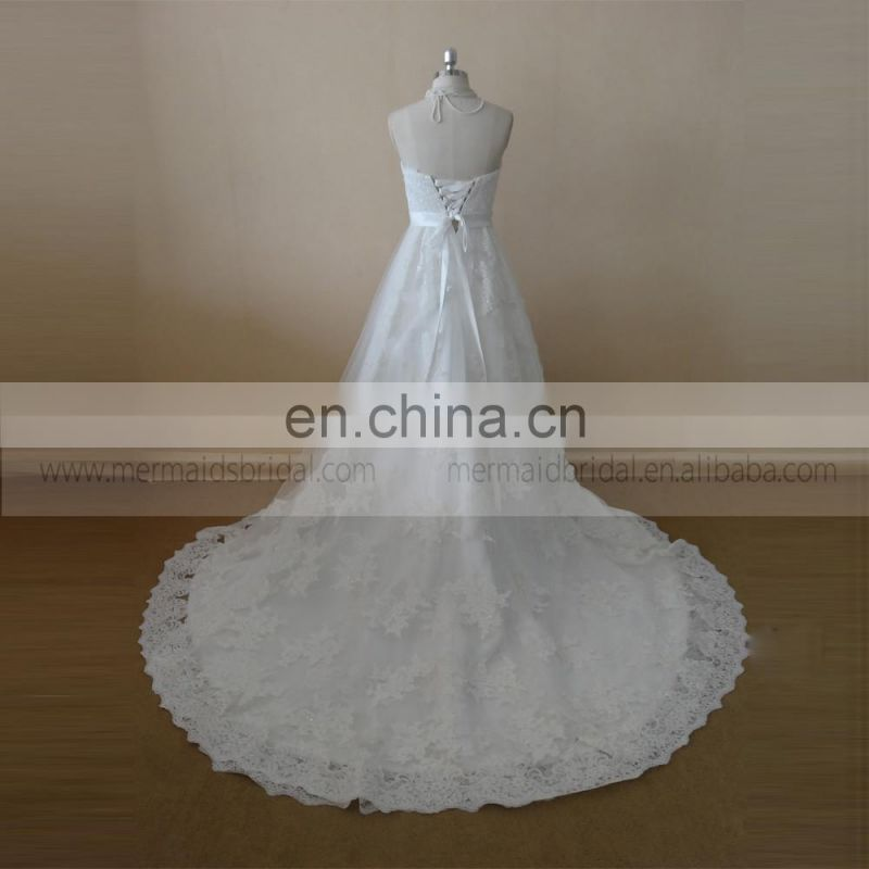 Pretty A-line Sweet Heart Satin Lace Wedding Dress With Beading On The Belt