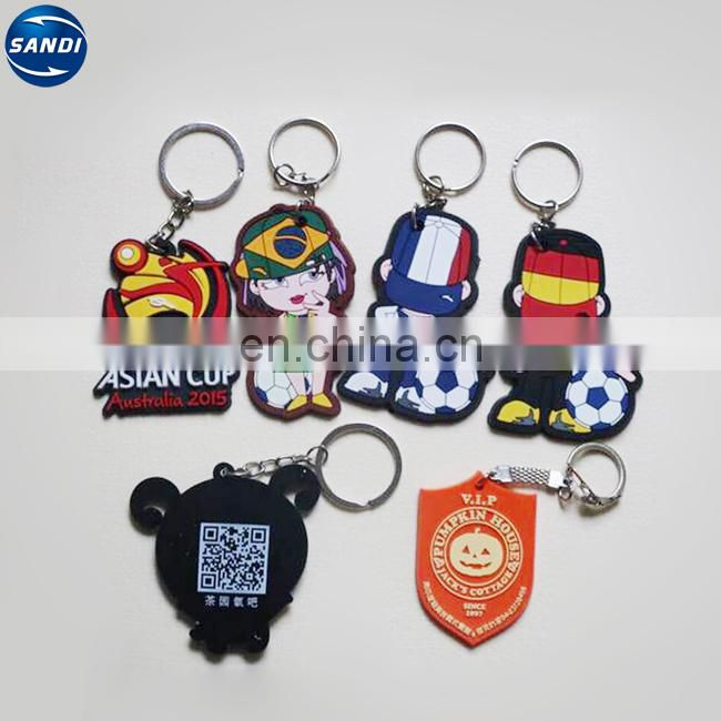 Promotional colorful custom soft rubber pvc keyring