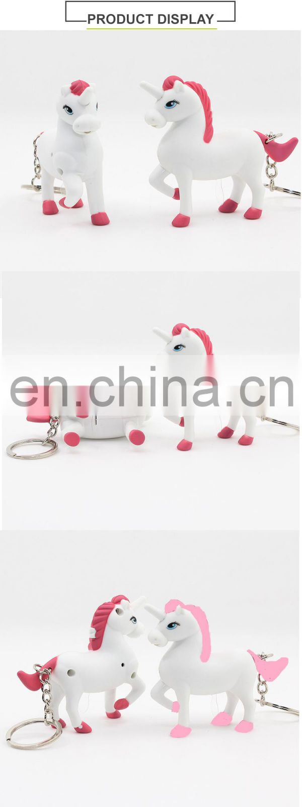 New arrival unicorn keychain with led light and unicorn sound