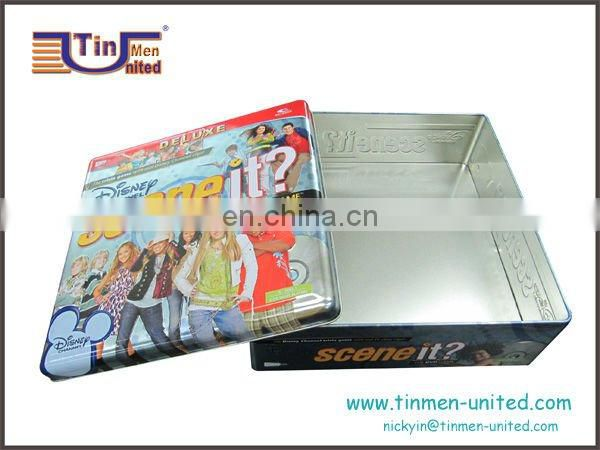Large square wine game tin box