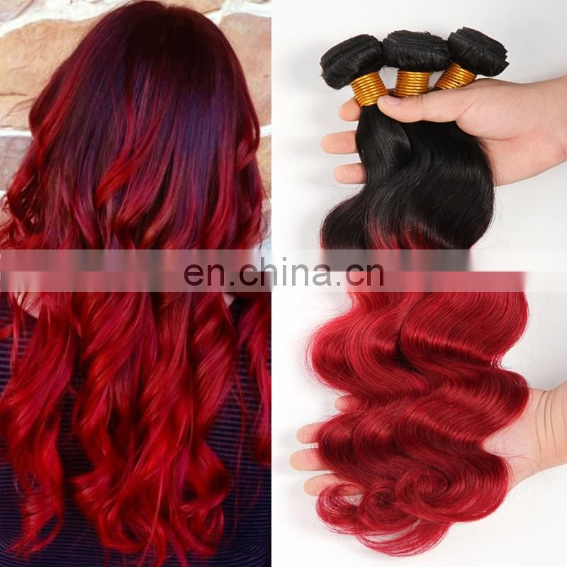Fashion ombre color human hair extension two tone1b red color body wave indian hair products