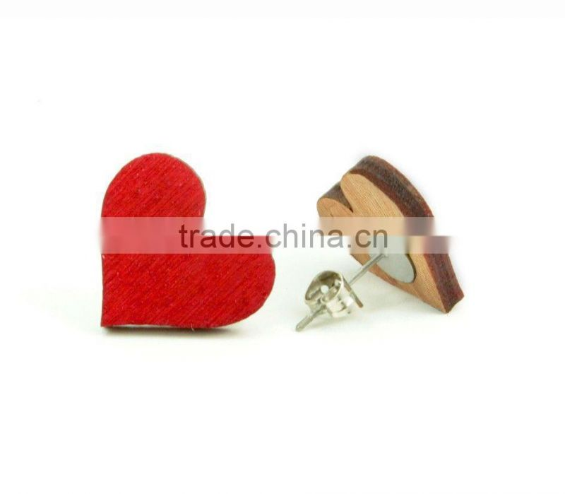 Good quality Wood Hearts Studs Red Earrings