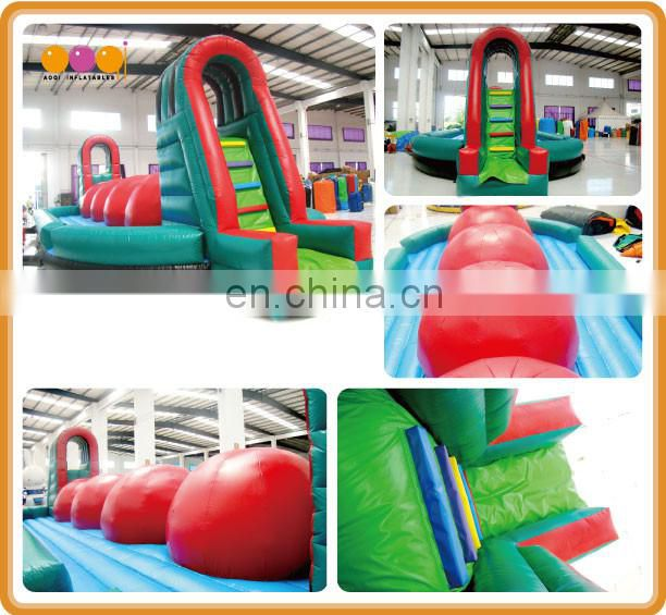 aoqi inflatable big ball obstacle game inflatable Wipeout Game for sale with free EN14960 certificate