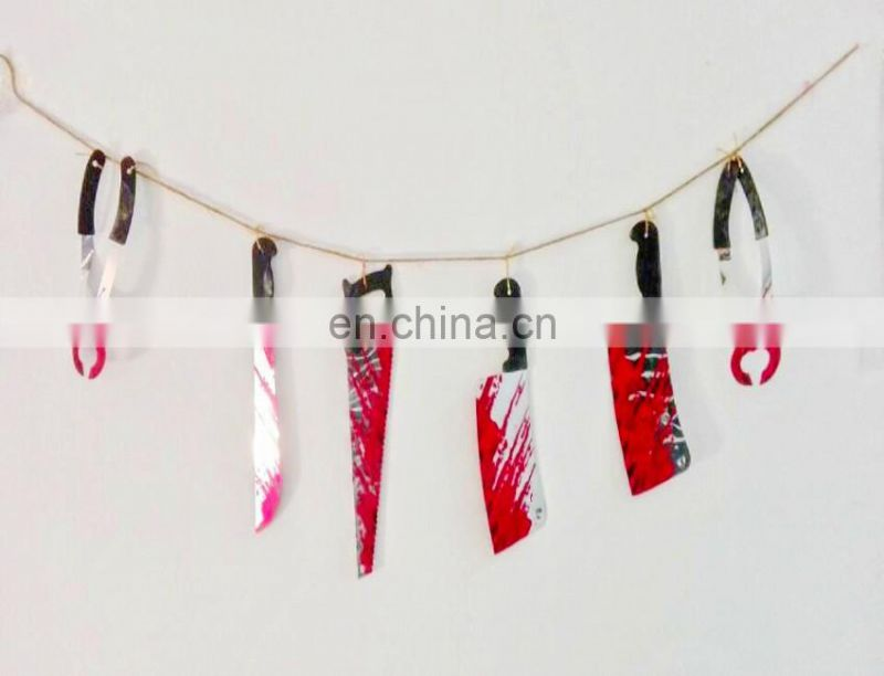 Halloween decoration bloody weapons garland Hanging Pennant Spooky banner