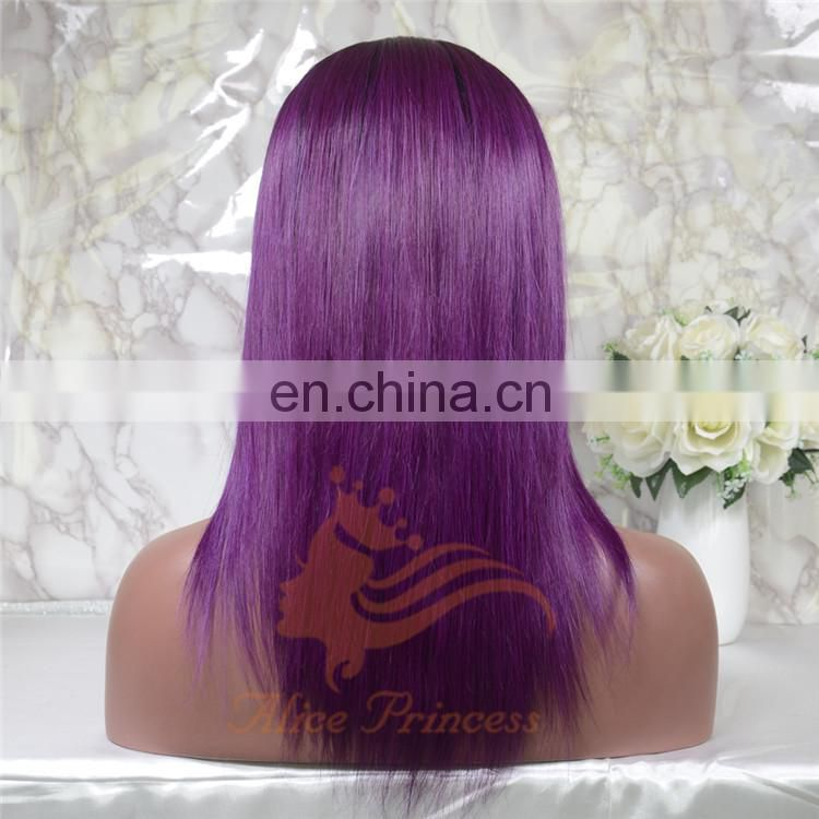 Good Quality Short Brazilian Virgin Human Hair Full Lace Wig Ombre Color Straight Lace Front Wigs With Baby Hair