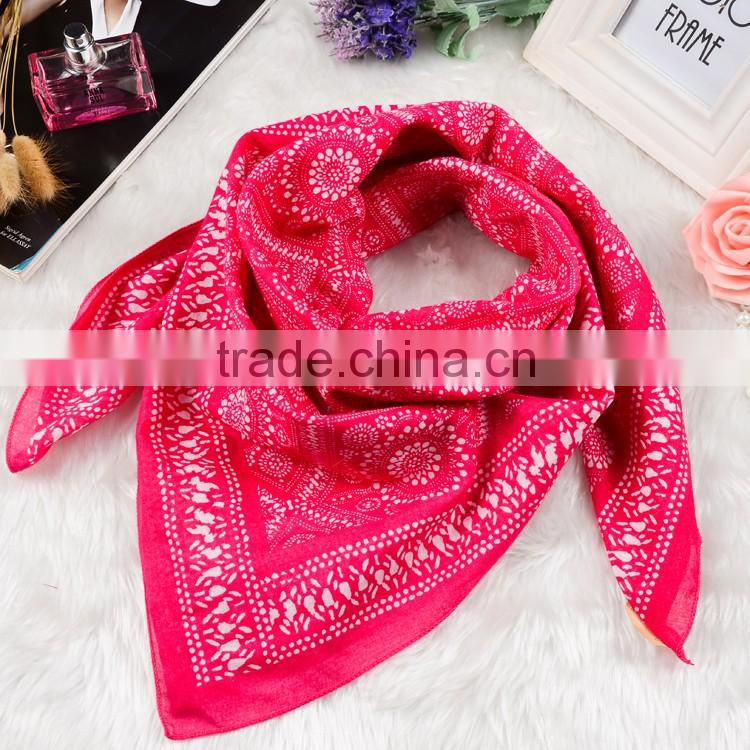 plain style 80*80cm 100%cotton printed square scarf,cotton tudung head wear, big hankerchief