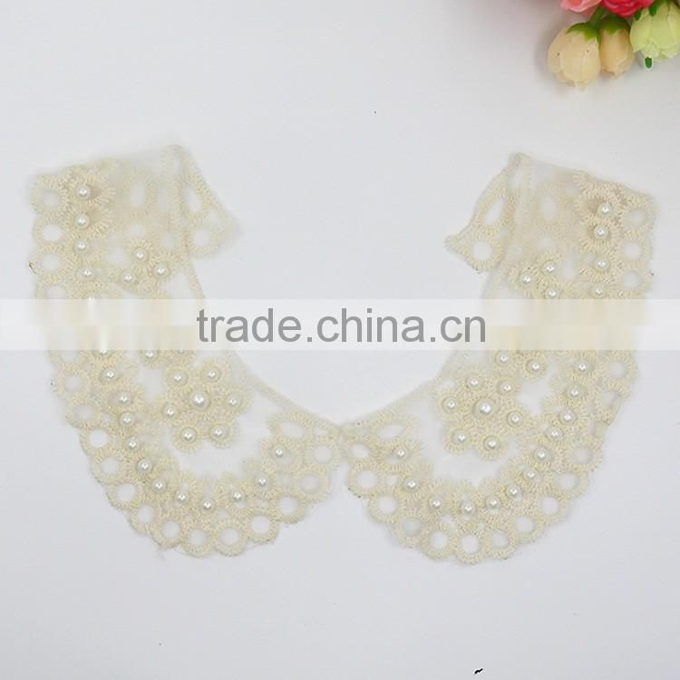custom cheap and chantilly discount 100% crochet cotton lace decorative dress applique beaded collar