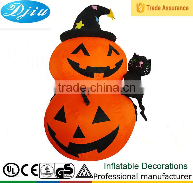 DJ-523 outdoor inflatable garden happy halloween double pumpkin with hat and cat decor