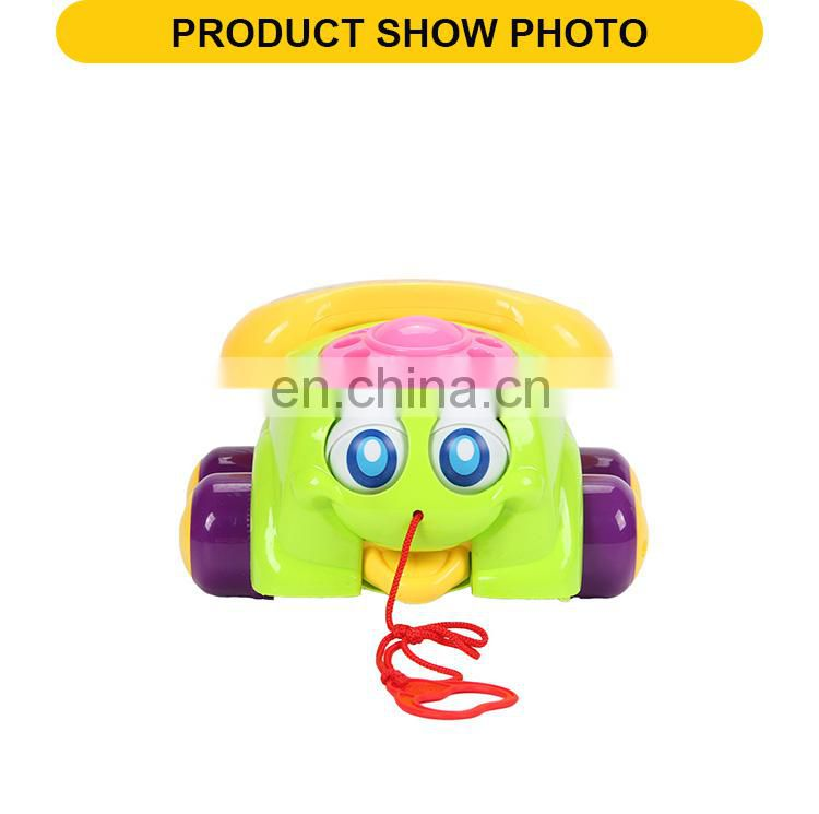 Factory price green and red Telephone shape car pull line follower toys for kids
