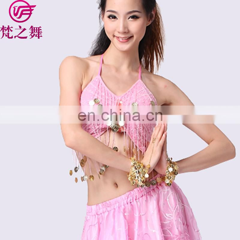 S-3013 Cheap sexy sequin tassel performance belly dance tops for sale