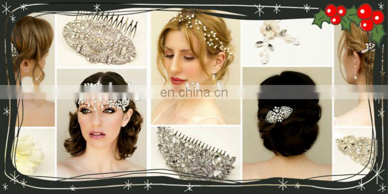 2016 Newest oem service supply type Bridal headpiece crystal wedding hair comb