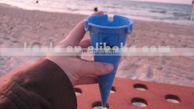 Promotional icecream cone shaped ashtray with lid