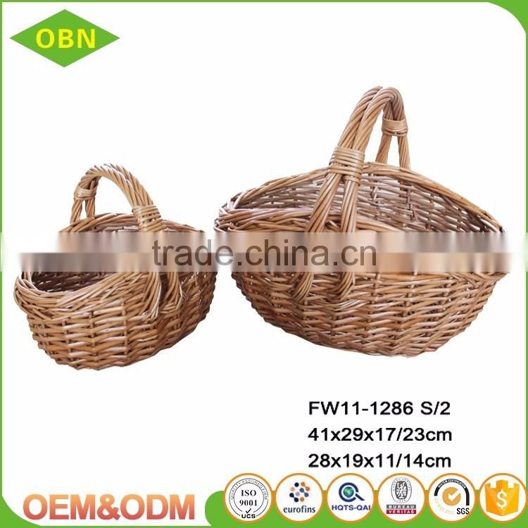 Set of 2 woven natural wicker gift baskets for baby