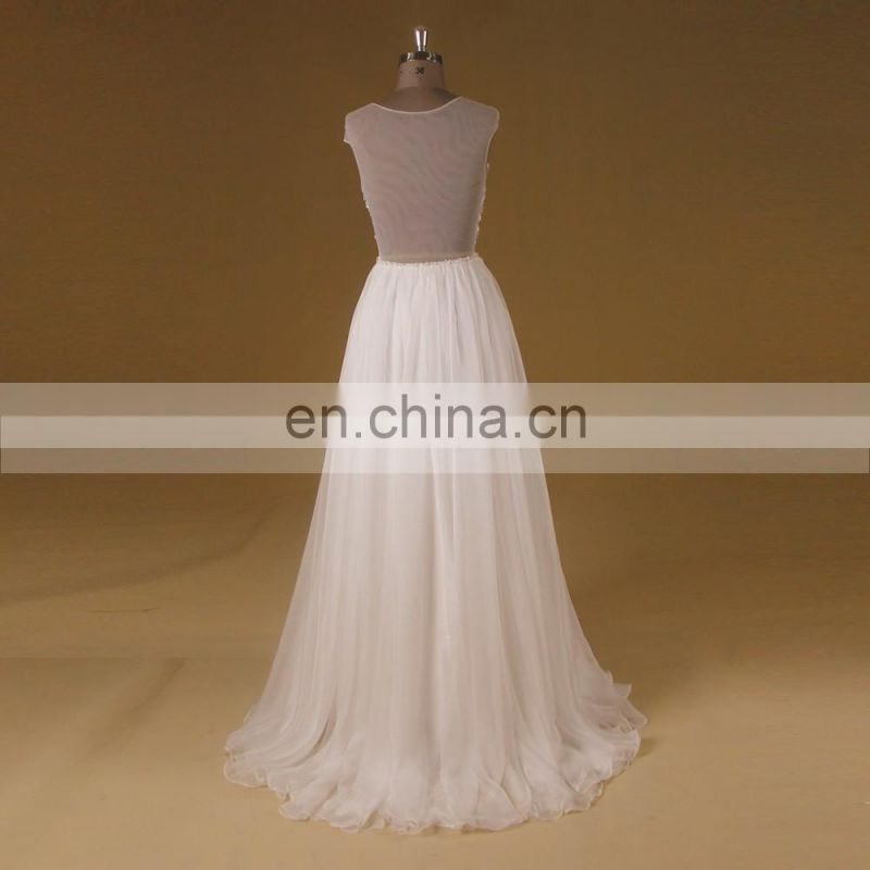 Boho New Hand Work Beading On Belt Chiffon See Through Wedding Gown