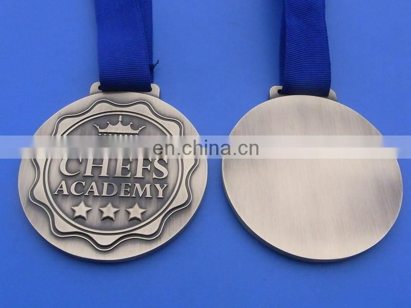 Factory Price Antique Gold Ice Hockey Raised Logo Medal