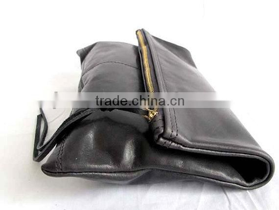 Beautiful dark Grey Leather Clutch , human leather wallet and popular cosmetics Bag , Zipper Pouch
